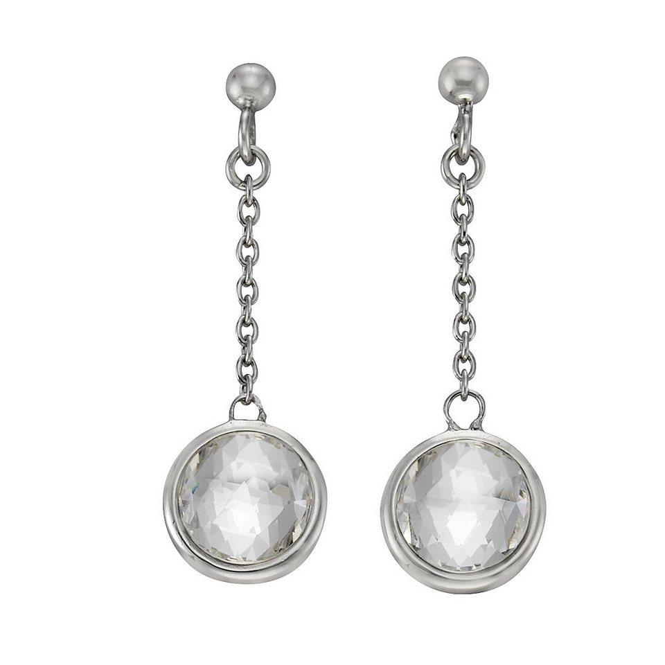 Zeeme Ohrhänger »925/- Sterling Silber Swarovski Kirstalle« in weiß