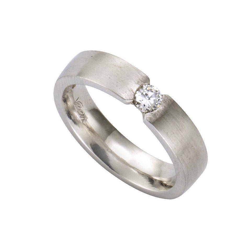 Zeeme Ring »925/- Sterling Silber mattiert Zirkonia« in weiß