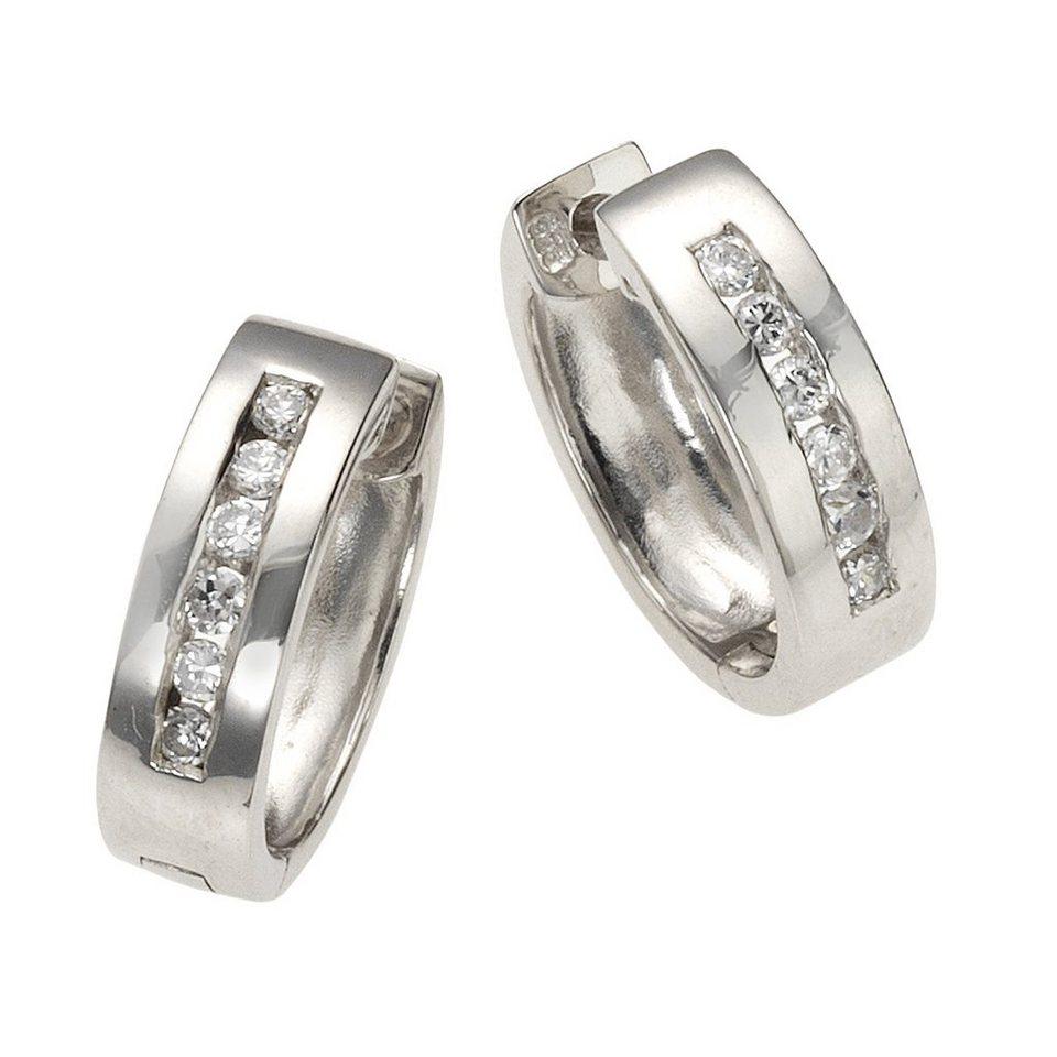 CELESTA Klappcreolen »925/- Sterling Silber« in weiß