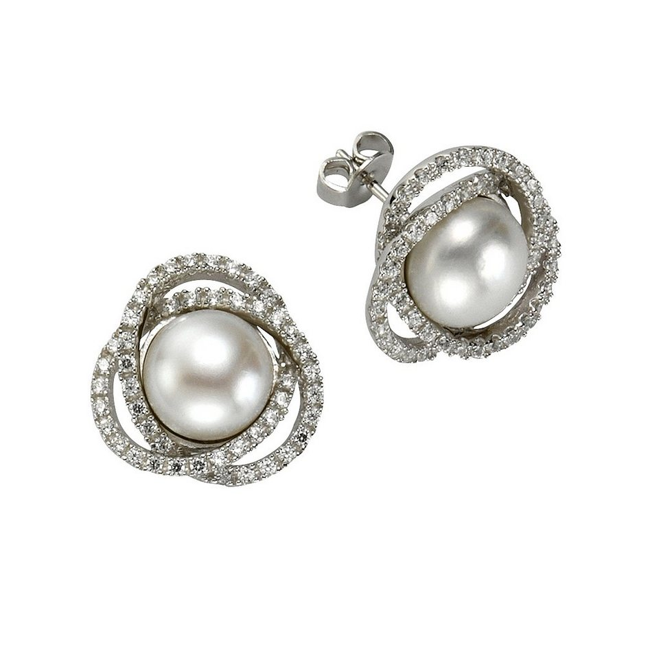 CELESTA Ohrstecker »925/- Sterling Silber Perle« in weiß