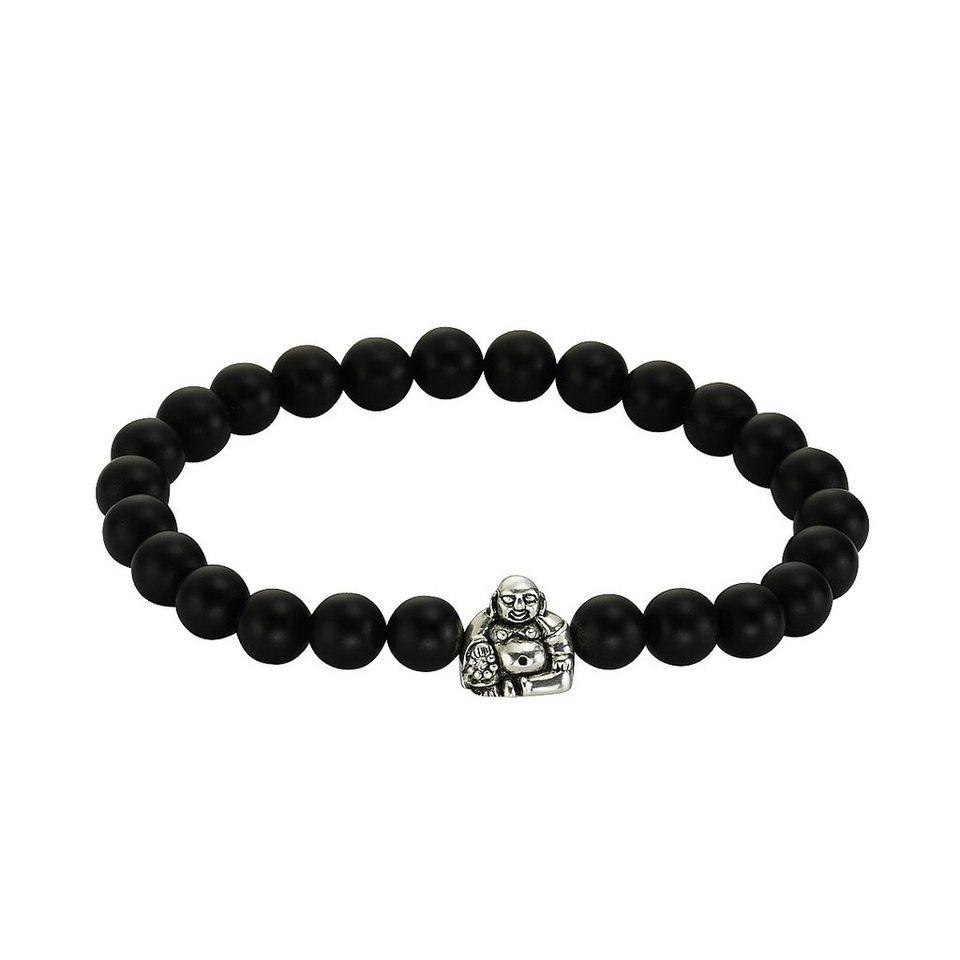 Zeeme Armband »925/- Sterling Silber Achat schwarz« in schwarz