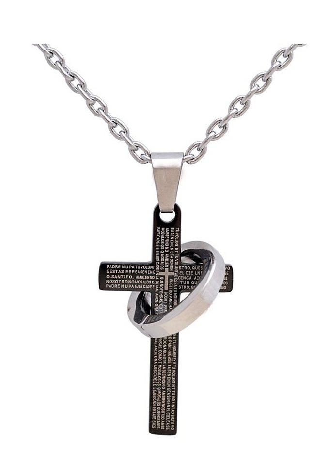 firetti Halsschmuck: Halskette »Kreuz & Ring« in Ankerkettengliederung in silberfarben/schwarz