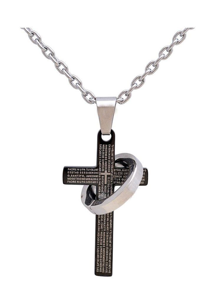firetti Halsschmuck: Halskette »Kreuz & Ring« in Ankerkettengliederung