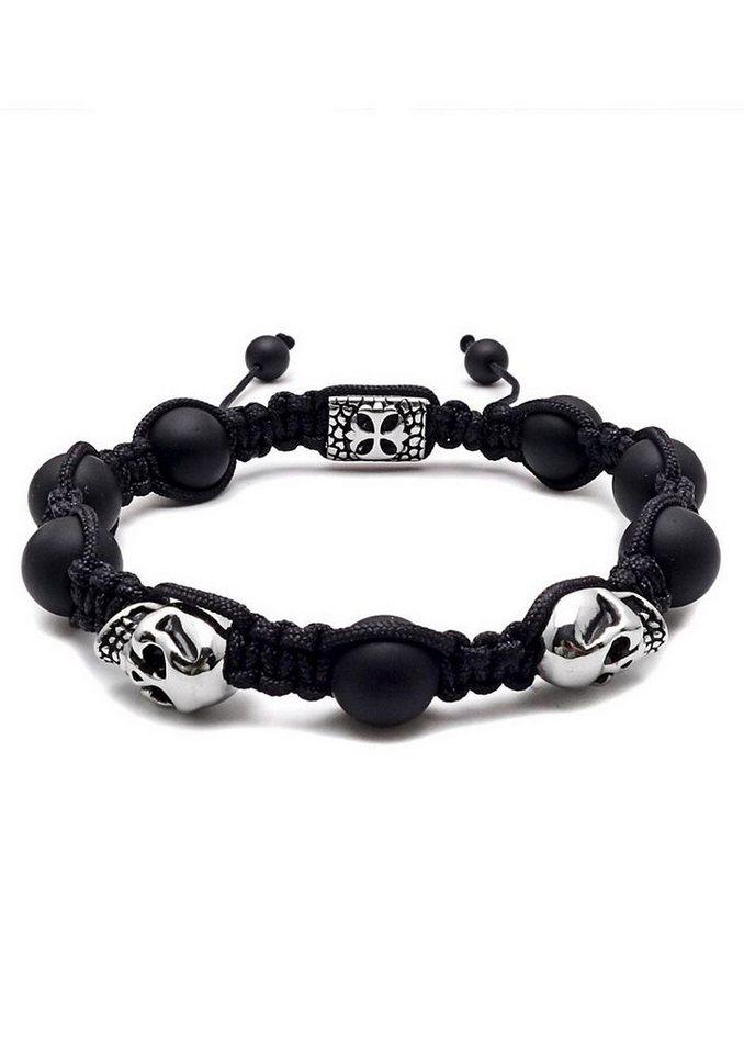 Firetti Armband »Makramee, Totenköpfe / Skulls« mit Agate Steinen in silberfarben-schwarz