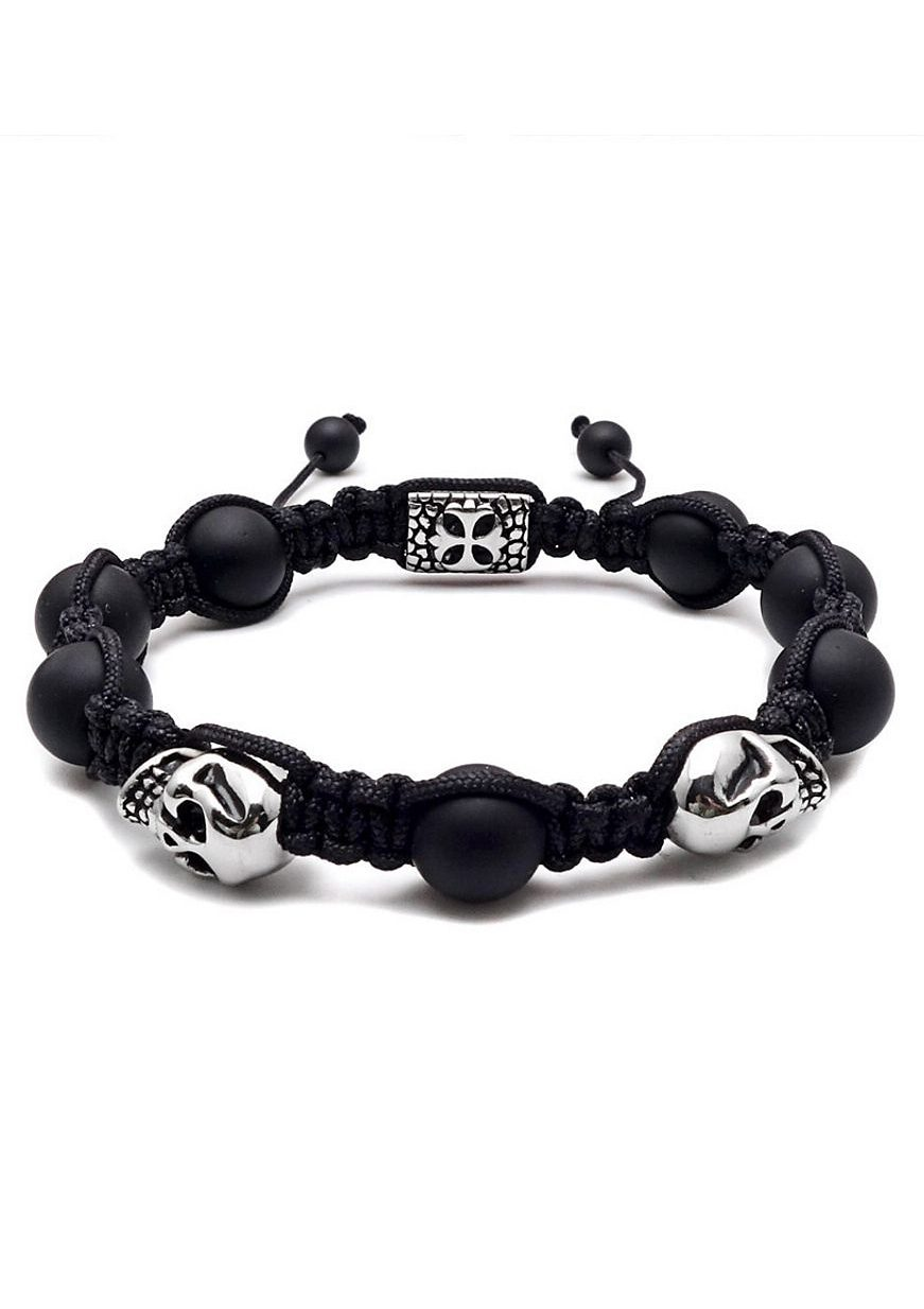 Firetti Armband »Makramee, Totenköpfe / Skulls« mit Agate Steinen