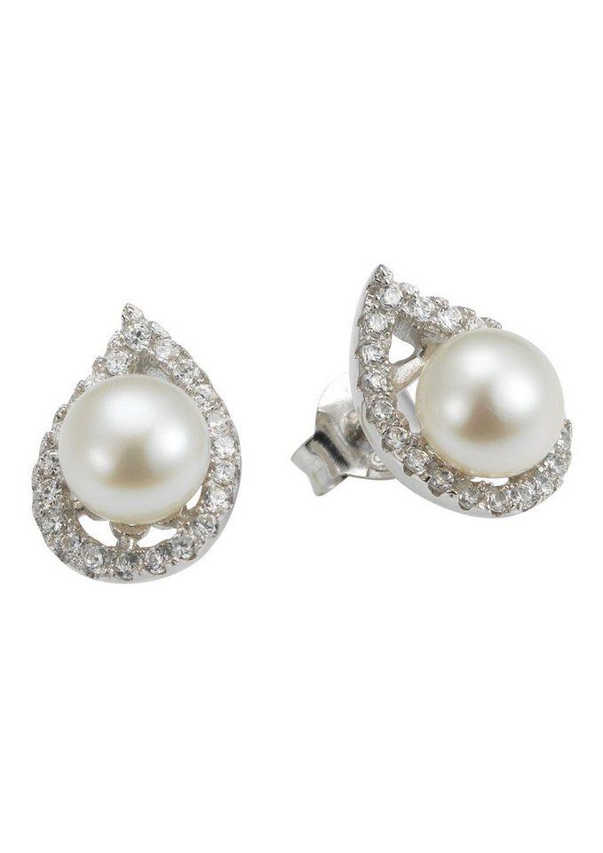 Adriana Paar Ohrstecker, »La mia perla A46« in Silber 925/weiß