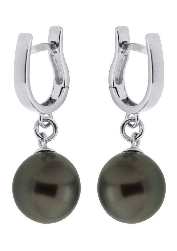 Adriana Paar Klappcreolen, »La mia perla A2848-O90T-SIR« in Silber 925/grau bis schwarz