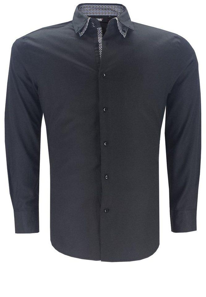 greyes Businesshemd in Schwarz