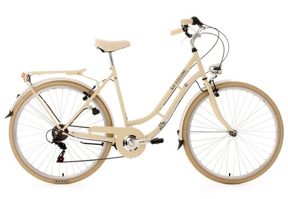 Cityrad, 28 Zoll, beige, 6 Gang-SHIMANO-Kettenschaltung, »Casino«, KS Cycling in beige
