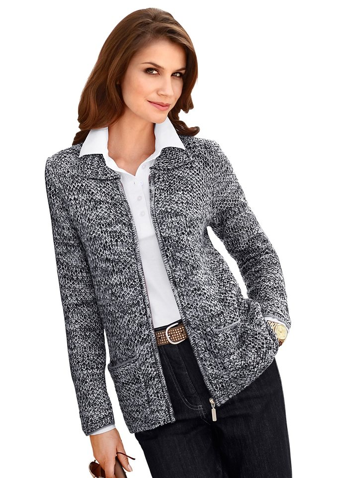 Collection L. Kuschelig weiche Strickjacke in grau-meliert