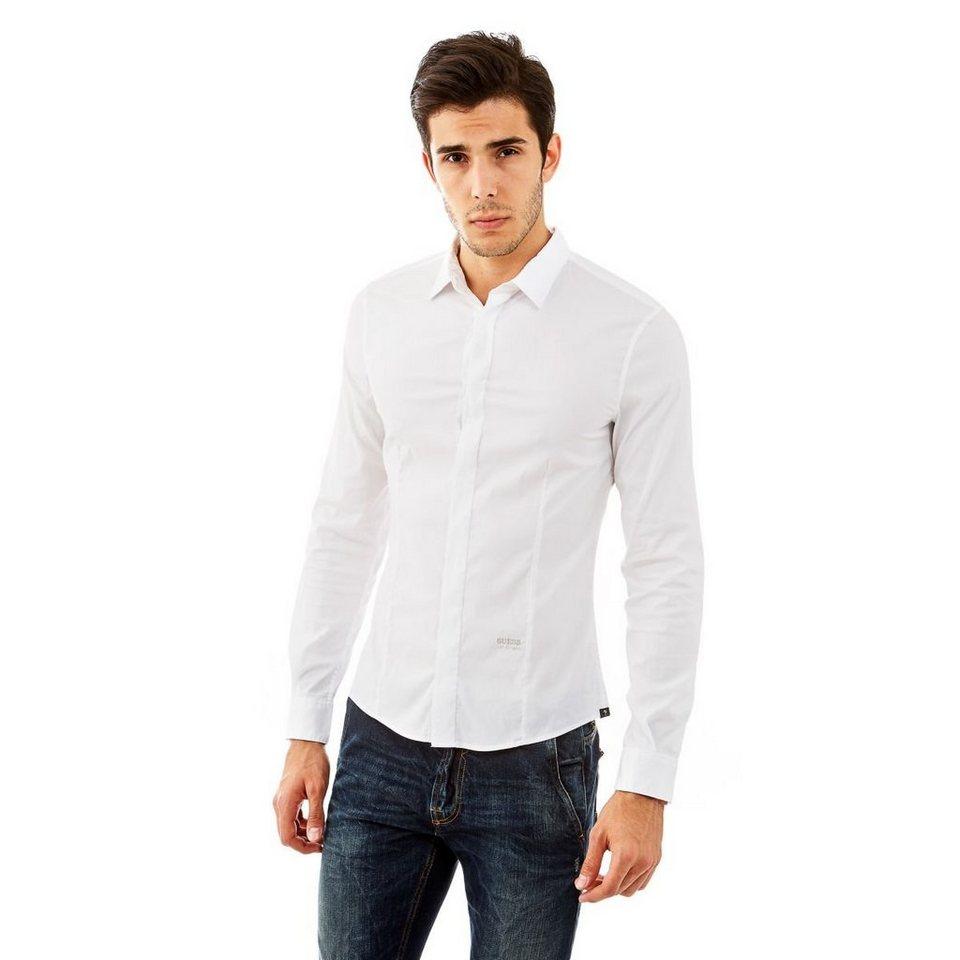 Guess Hemd »Classic Stretch poplin« in Blanc