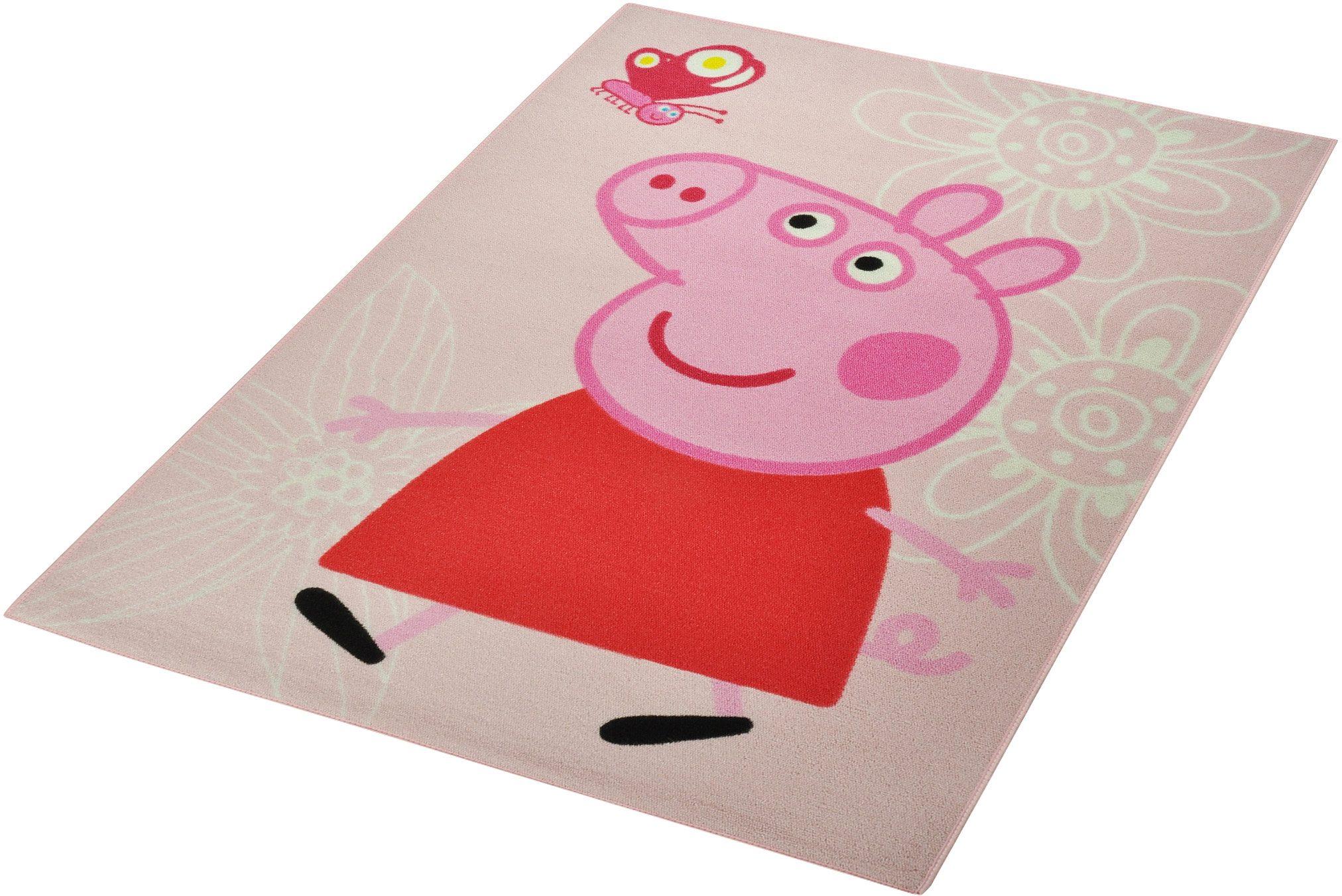 Teppich Schmetterling Rosa ~ Kinderteppich lizenz peppa pig schmetterling« hanse home