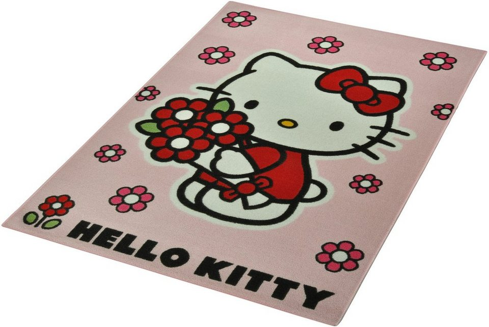 kinder teppich hello kitty lizenz teppich hello kitty flower getuftet online kaufen otto. Black Bedroom Furniture Sets. Home Design Ideas