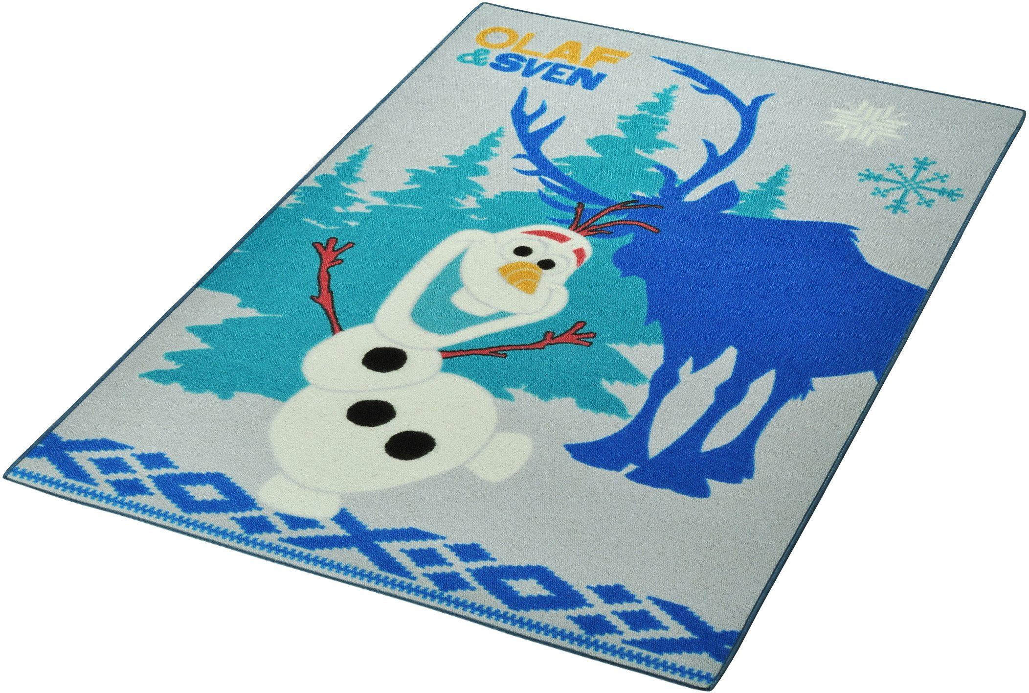 Kinderteppich »Frozen / Die Eiskönigin - Olaf & Sven«, Disney, rechteckig, Höhe 7 mm