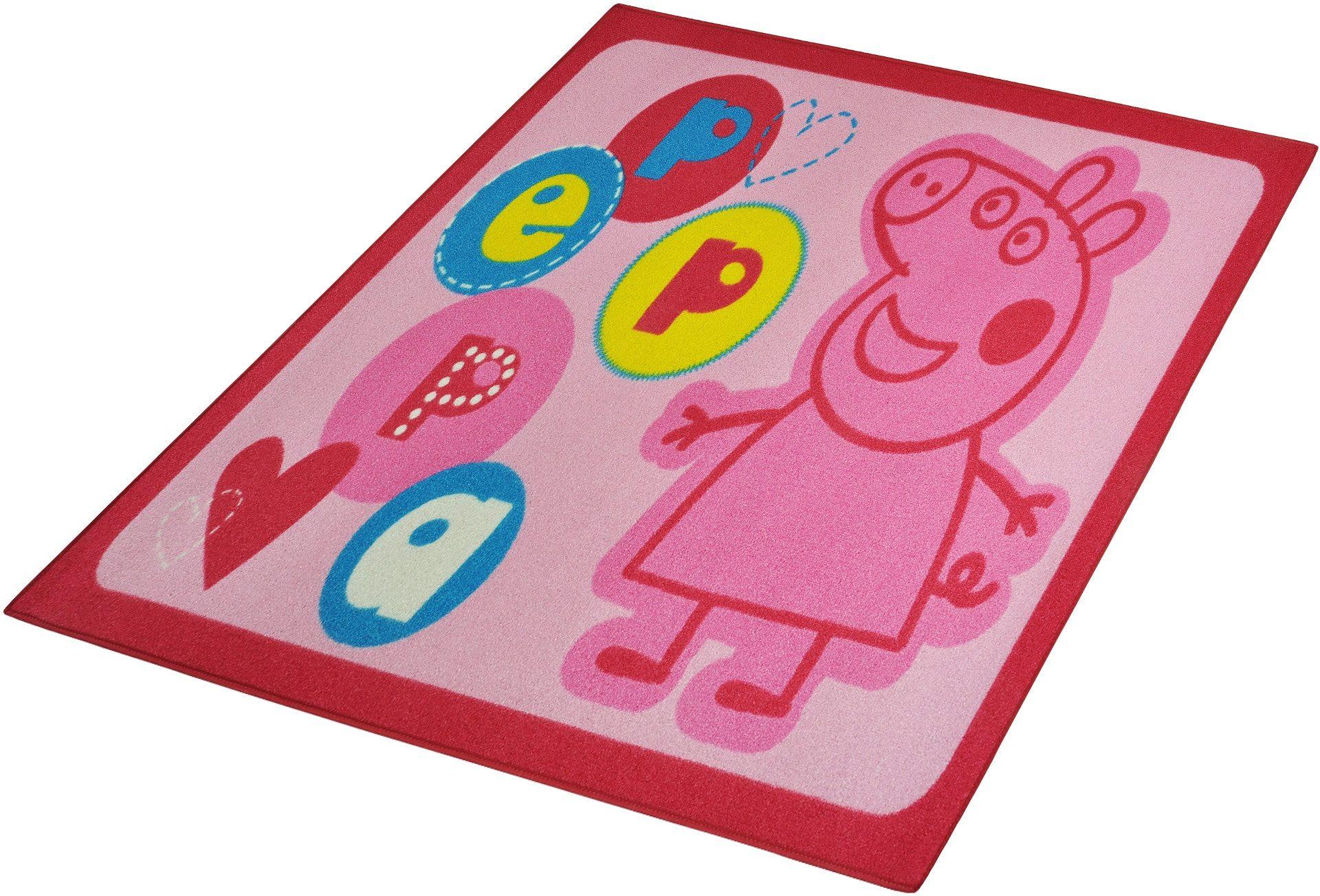 Kinderteppich »Lizenz Peppa Pig - Peppa Wutz«, HANSE Home, rechteckig, Höhe 7 mm