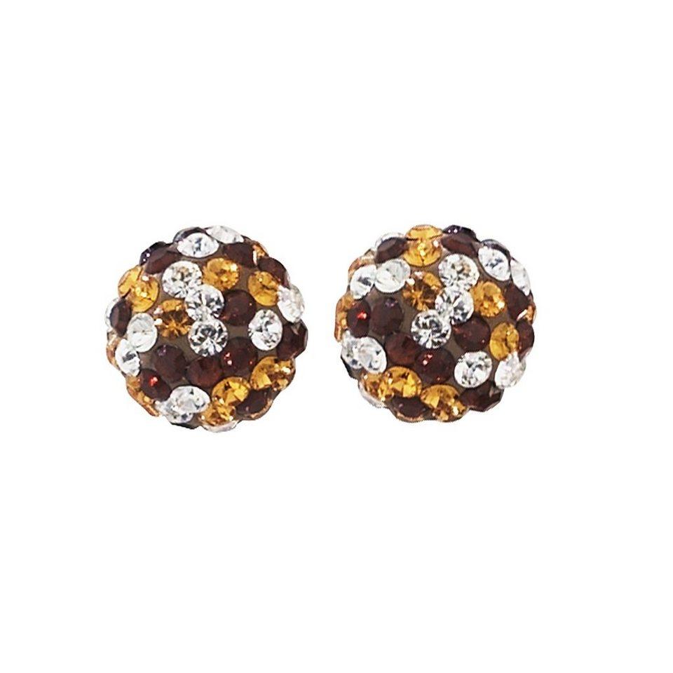 Crystelle Ohrstecker »375/- Gelbgold Swarovski Kristalle« in braun