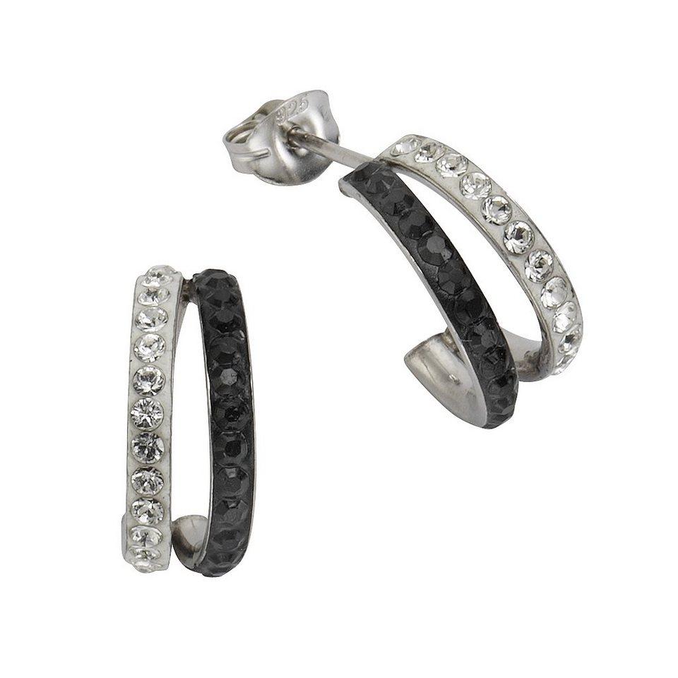 Crystelle Ohrstecker »925/- Sterling Silber Swarovski Kristall« in schwarz