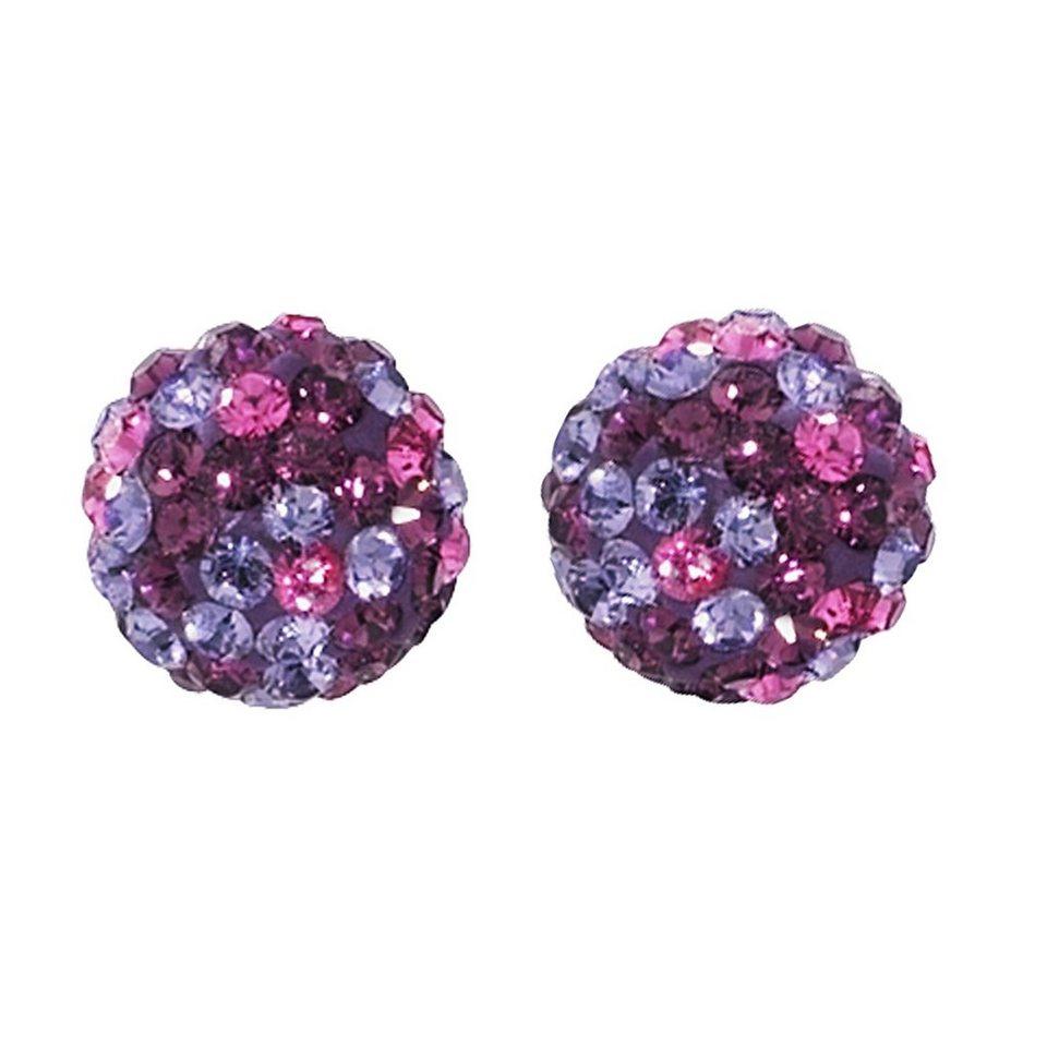 Crystelle Ohrstecker »375/- Gelbgold Swarovski Kristalle« in lila