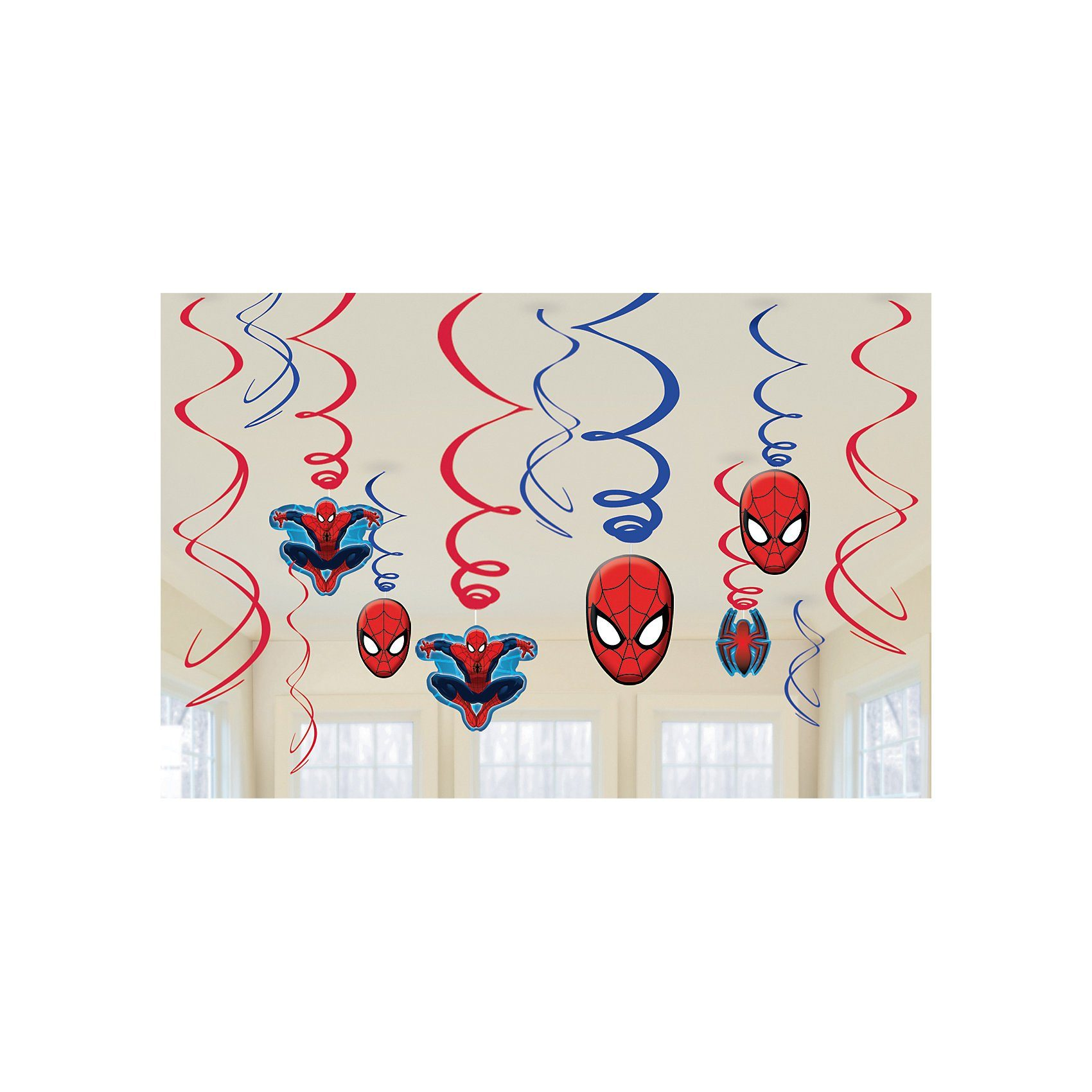 Amscan Deko-Spiralen Spiderman, 12-tlg.