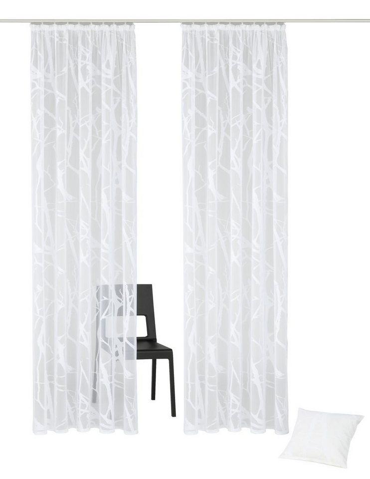 Gardine, my home, »Glinde«, (2 Stück), zusätzlich passende Kissenhülle beiliegend in weiß