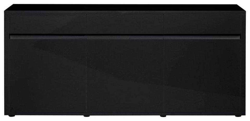 Sideboard »Urbana«, Breite 180 cm in schwarz Hochglanz lackiert