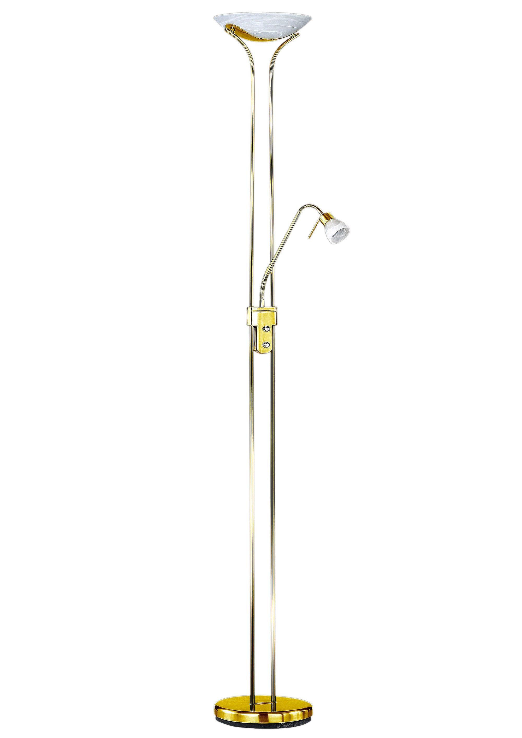 Lesearm H.: 180cm rostf Glas weiß Trio Halogen-Deckenfluter