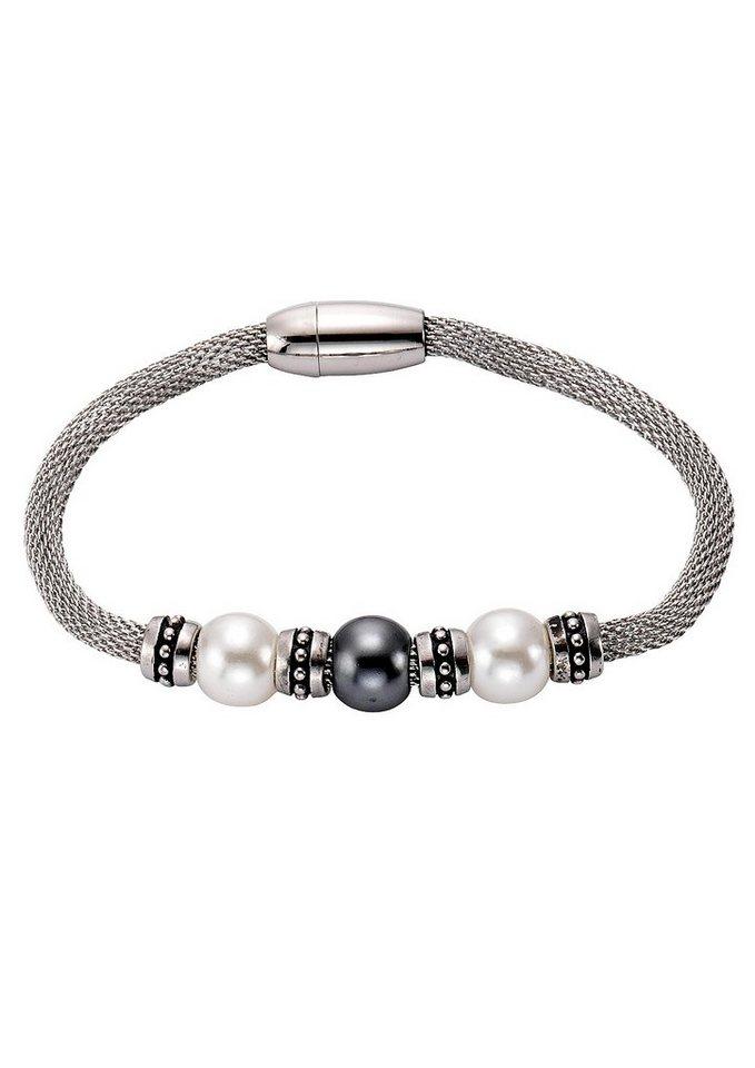 firetti Armschmuck: Armband in Meshgliederung mit Perlen und Magnetverschluß in silberfarben/weiß/grau