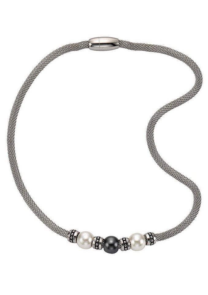 """firetti Halsschmuck: Halskette / Collier """"Perle"""" in Meshgliederung, magnetischer Verschluß in silberfarben/weiß/grau"""