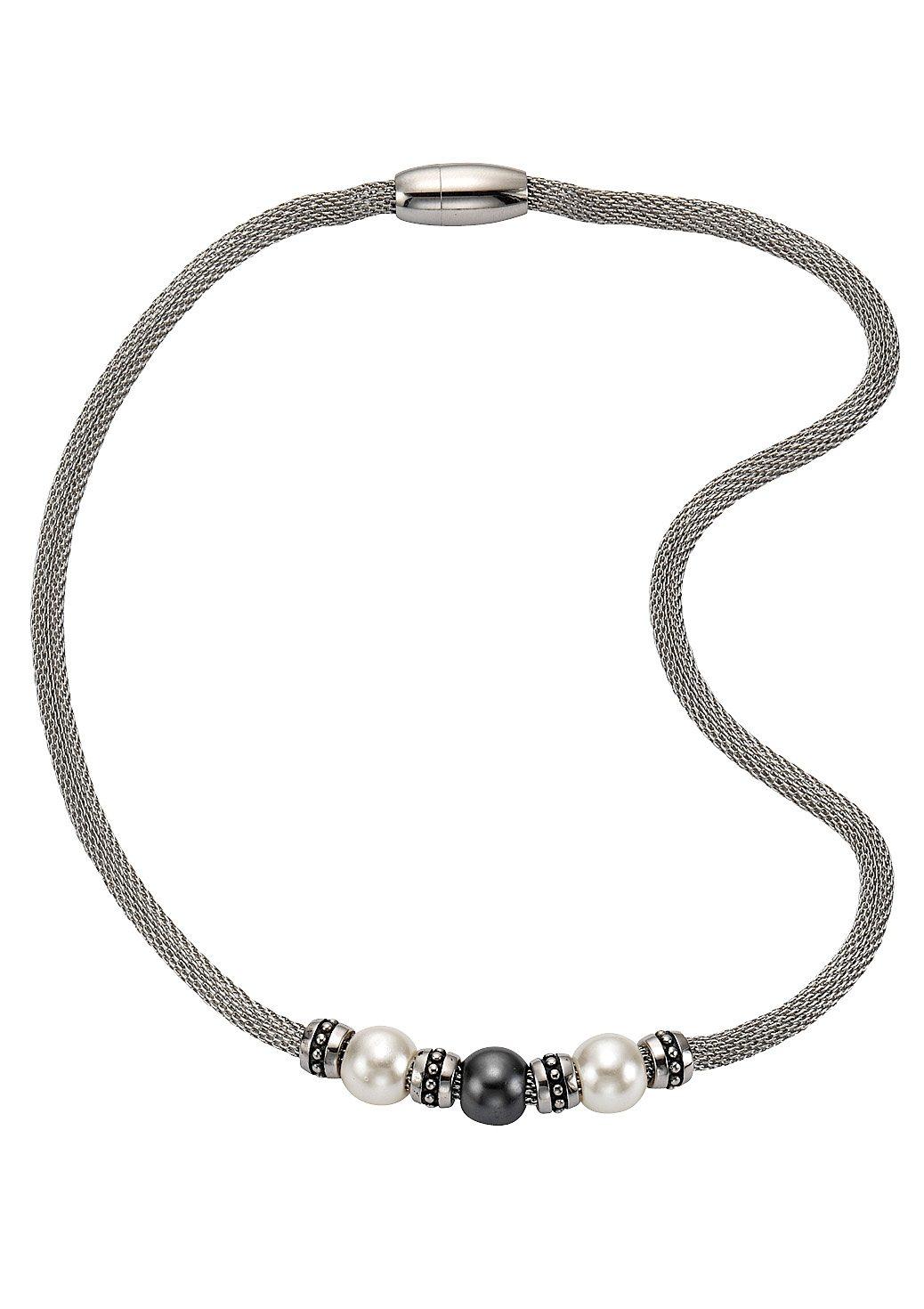 """firetti Halsschmuck: Halskette / Collier """"Perle"""" in Meshgliederung, magnetischer Verschluß"""