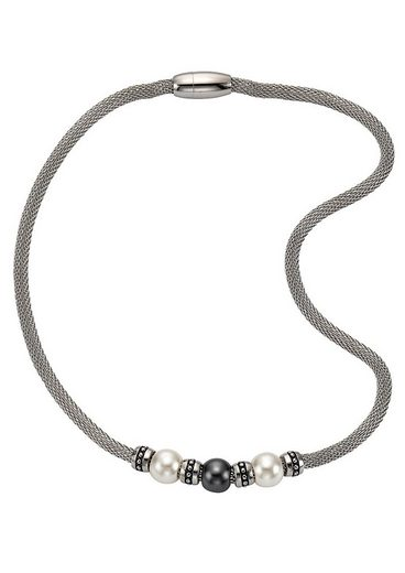 Firetti Edelstahlkette »Meshgliederung, Magnetverschluss«, mit Perlen (imit)