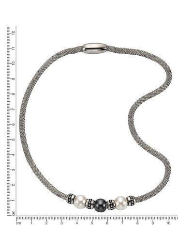 Firetti Edelstahlkette »Meshgliederung  Magnetverschluss«  mit Perlen (imit)