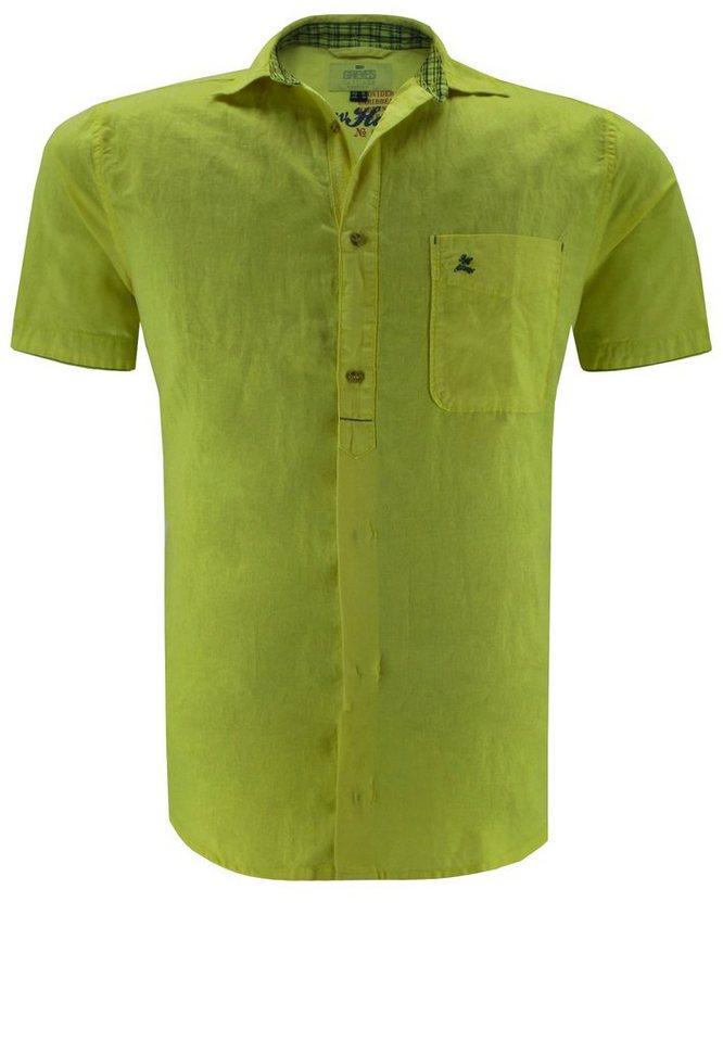 greyes Kurzarmhemd in Gelb