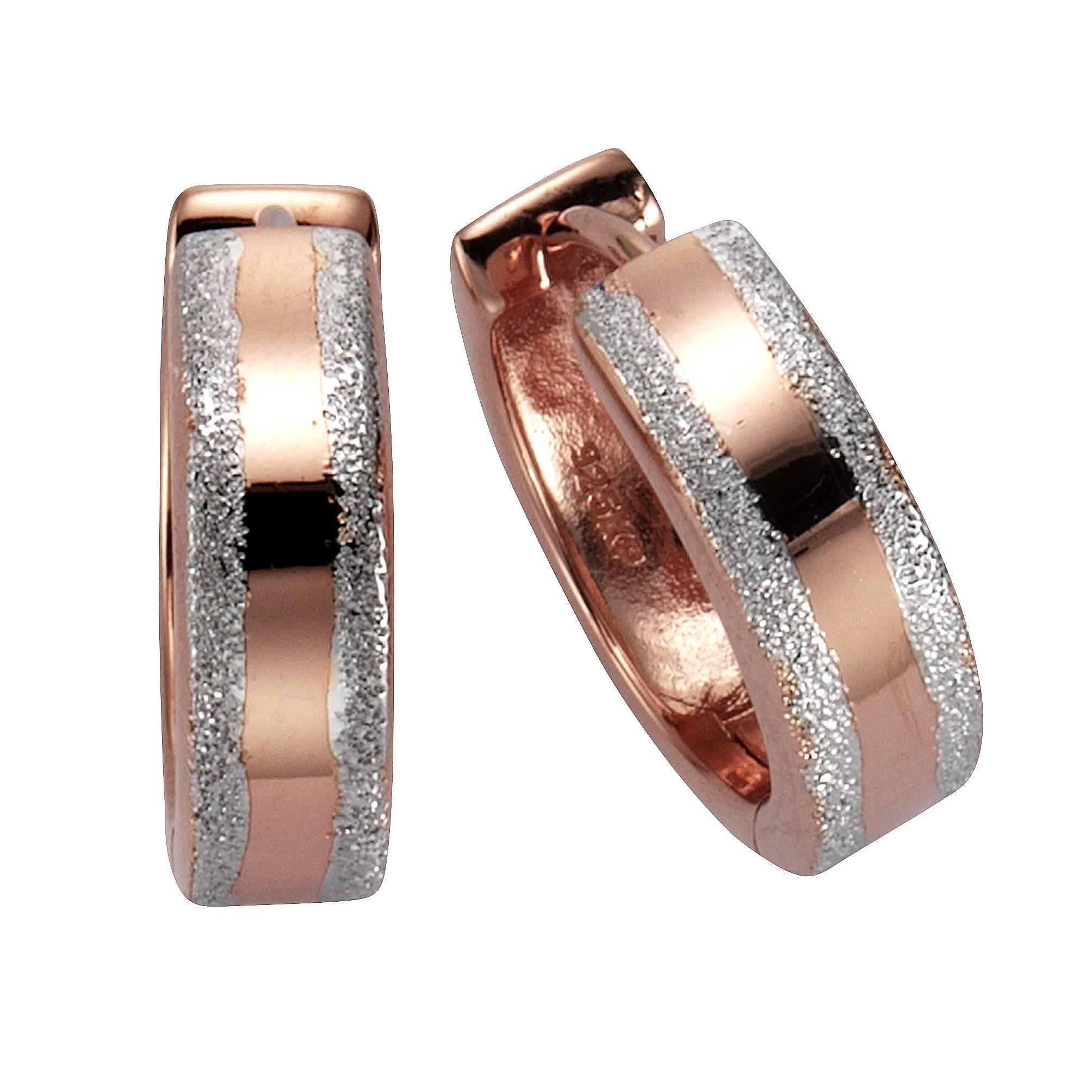 CELESTA Creolen »925/- Sterling Silber rosévergoldet diamantiert«