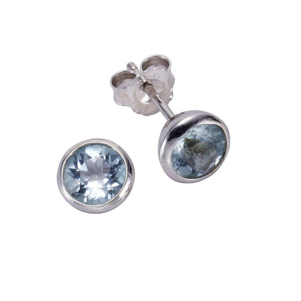 Zeeme Ohrstecker »925/- Sterling Silber Blautopas« in weiß