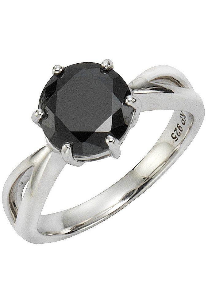 """firetti Ring """"Solitär-Optik"""" mit Zirkonia in Silber 925/schwarz"""