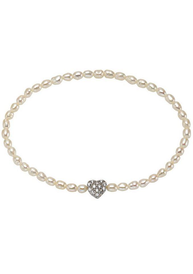 """firetti Armschmuck: Armband """"Herz"""" aus Perlen mit Zirkonia in Silber 925/weiß"""