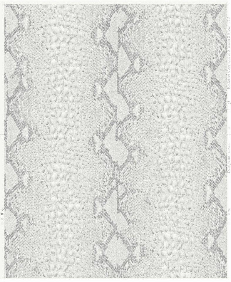 Vliestapete »Schlange«, weiß in weiß