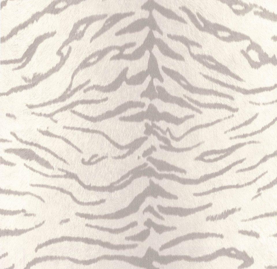 Vliestapete »Tiger«, weiß in weiß