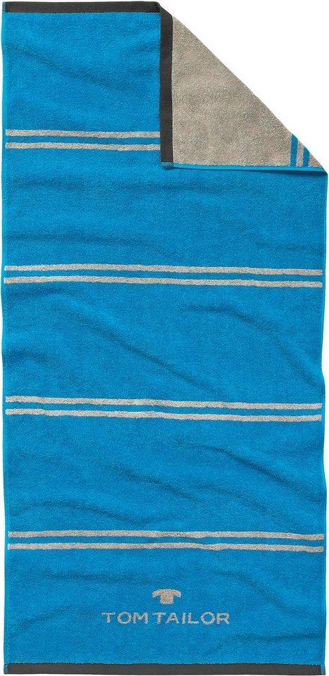 Badetuch, Tom Tailor, »Sport-Tuch«, mit Jaquard-Logo in blau/grau