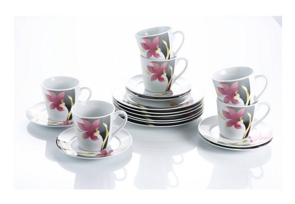 Porzellan Kaffeeservice, »Orchidee« in weiß/bunt