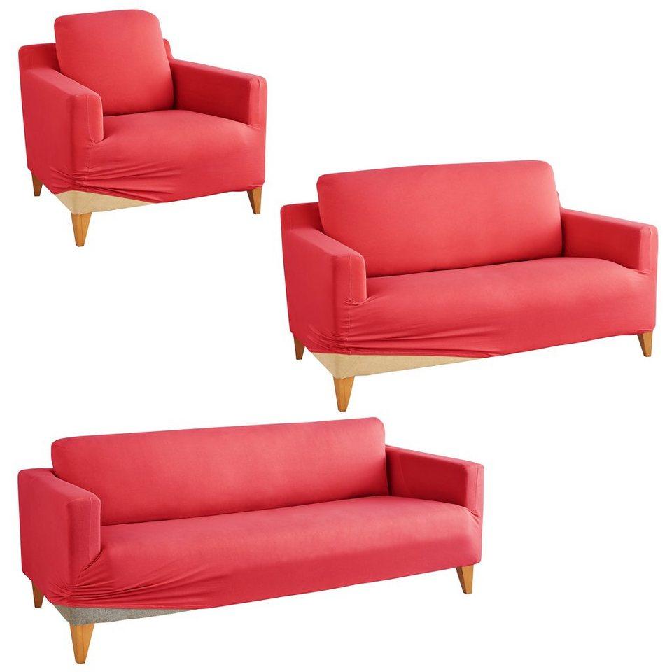 Hussen Set, my home, »Marvin«, mit unifarbenem Design in bordeaux