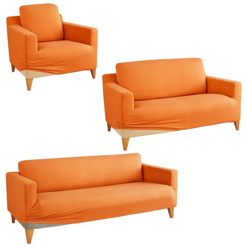 Hussen Set, my home, »Marvin«, mit unifarbenem Design in orange