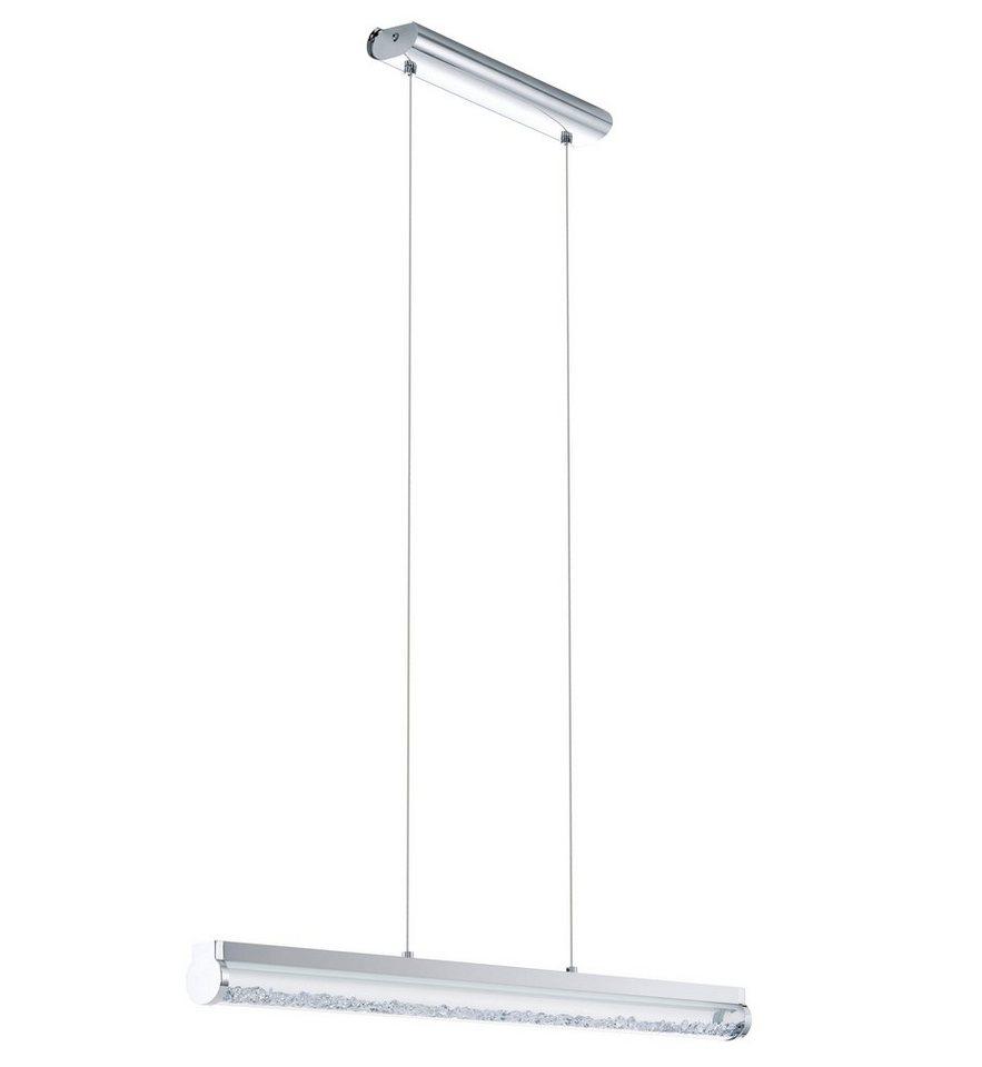 Pendelleuchte, 1flammig, inkl. LED in Leuchte, Stahl,  chromfarben,  Glas, satiniert, weiß, klar