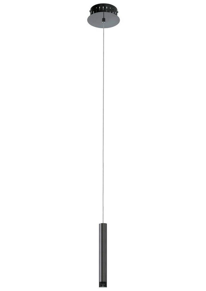 Pendelleuchte, 1flammig, inkl. LED in Leuchte und Schirm, Stahl,  nickelfarben-nero