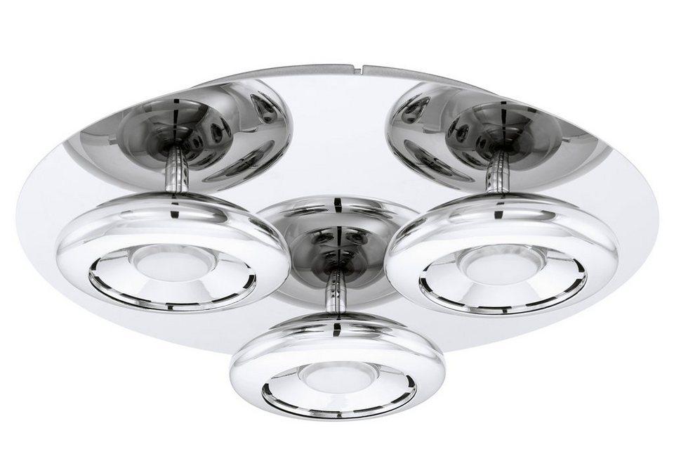 Deckenleuchte, 3flammig, inkl. LED in Leuchte, Stahl, chromfarben,  Schirm, weiß