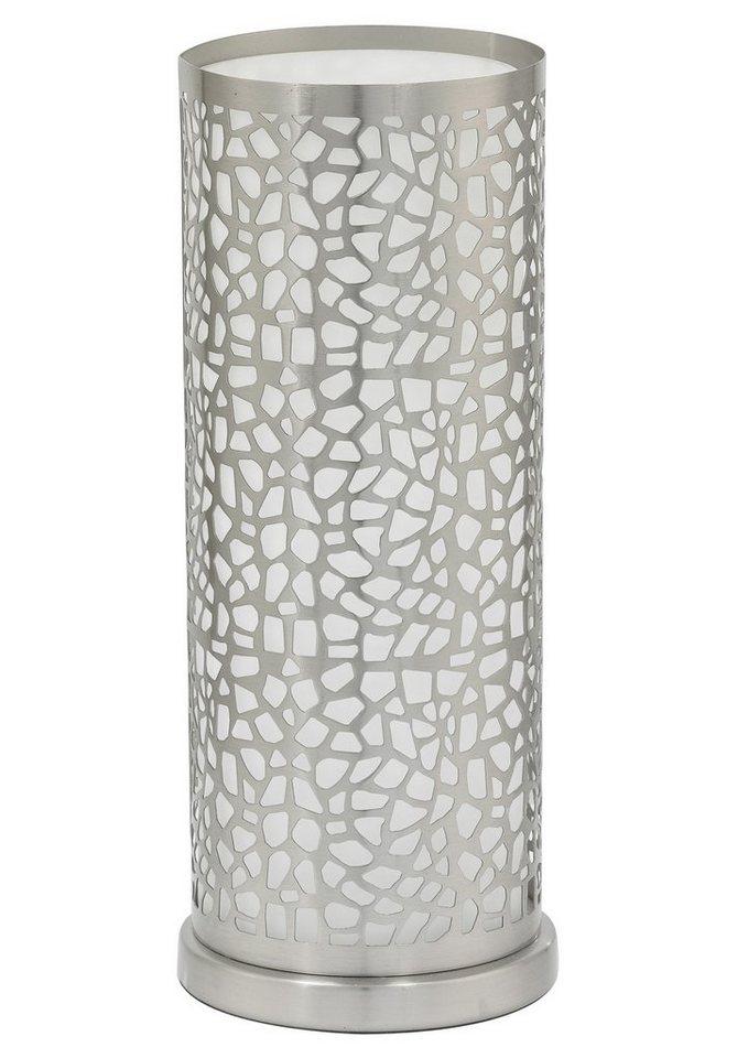 Tischleuchte, 1flammig in Leuchte, nickelfarben matt, Glas, satiniert, weiß lackiert