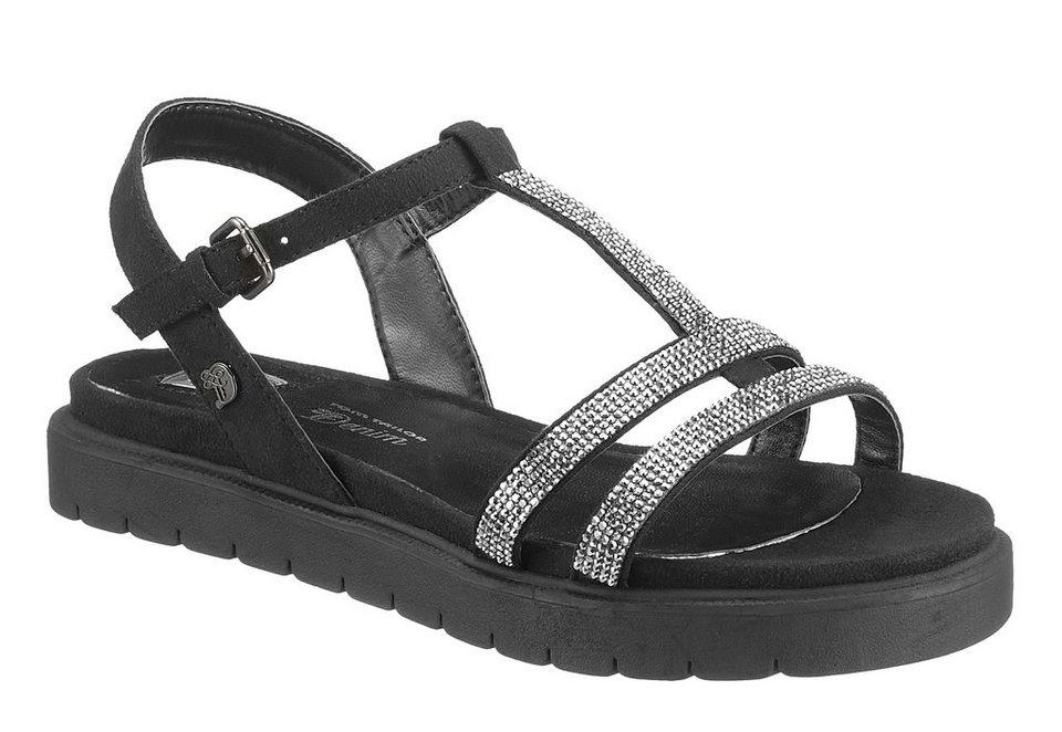 Tom Tailor Sandale mit Glitzersteinchen in schwarz