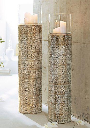 Mailord Collection Boden-Windlicht in weiß-goldfarben