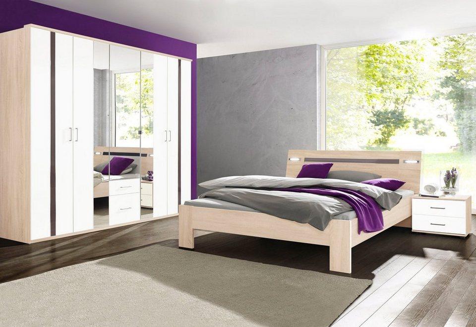 Wimex Schlafzimmer-Sparset mit Kleiderschrank (4-tlg.) in struktureichefarben hell/Hochglanz grau