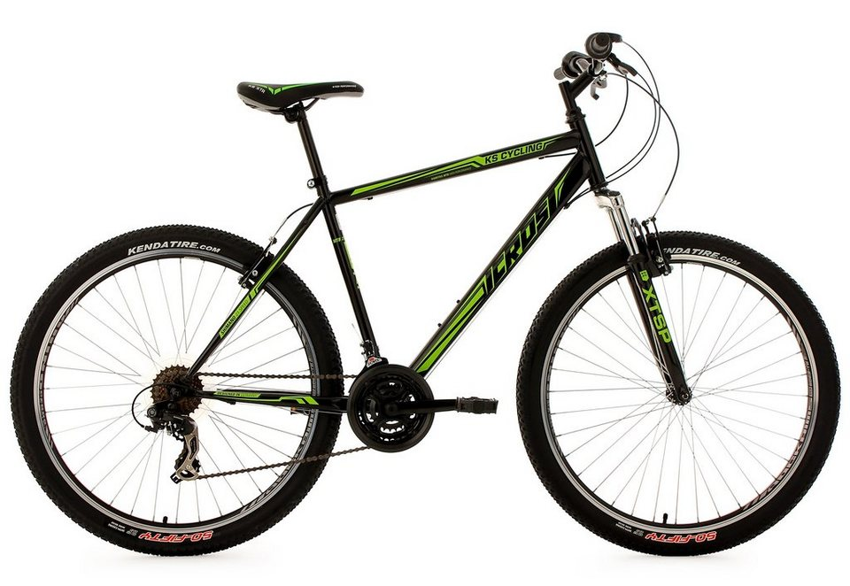 KS Cycling Hardtail-Mountainbike, 27,5 Zoll, schwarz-grün, 21 Gang-Kettenschaltung, »Icros« in schwarz-grün